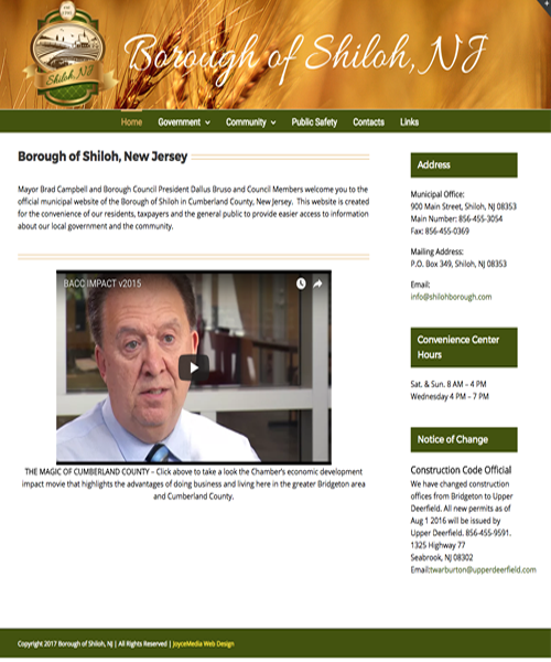 Borough of Shiloh Joyce Media Web Design