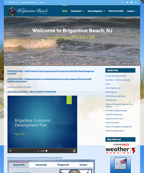 City of Brigantine Beach website design