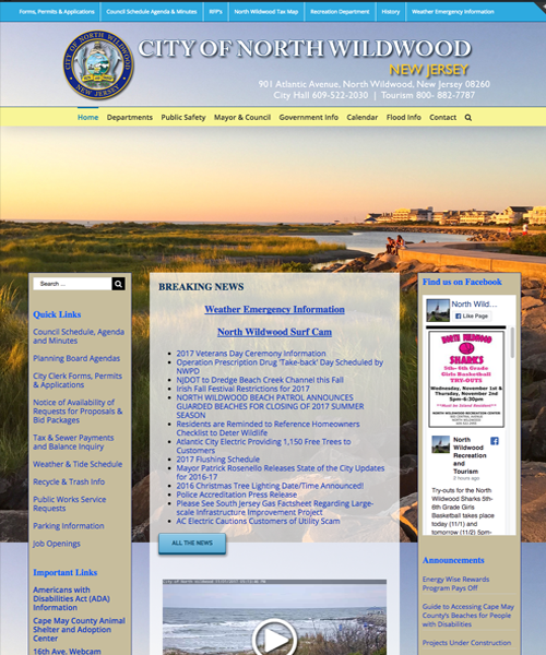 City of North Wildwood Website Design