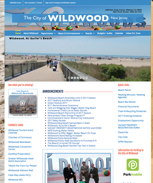 City of Wildwood Website Design