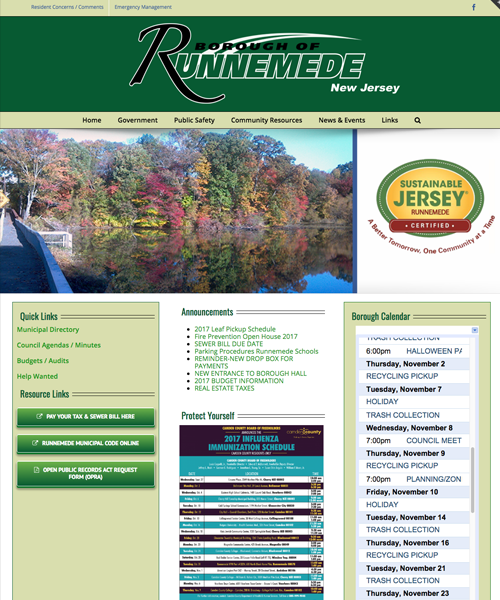 Borough of Runnemede Website Design