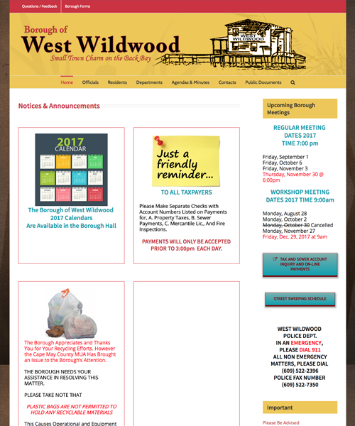 Borough of West Wildwood website design