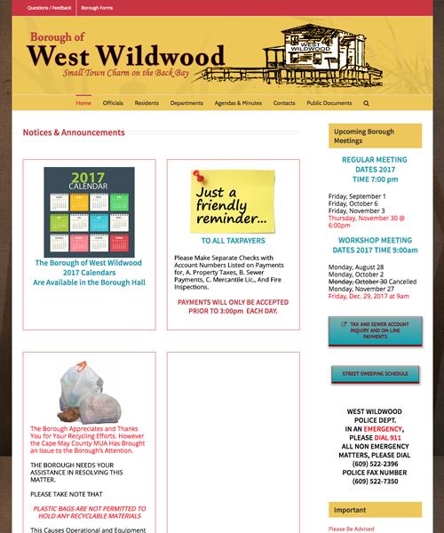 Borough of West Wildwood website design