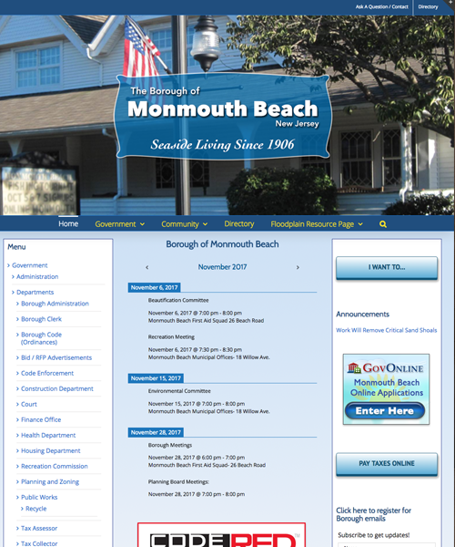 Borough of Monmouth Beach Web Design