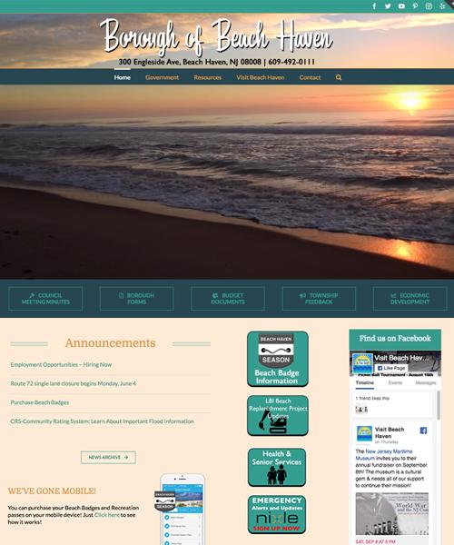 Borough of Beach Haven website design